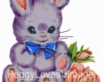 Puple Bunny with Blue Bow Digital Image from Vintage Greeting Cards - Instant Download
