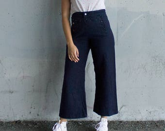 Vintage Wool Navy Cropped Lace Up/Button Pants