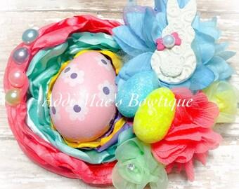 Pastel Easter bunny peep satin flower
