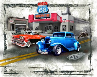 """American Pride Hot Rod At the Movies, David Textiles # GG00187CW1 Panel 36"""" x 44"""" Free Shipping"""