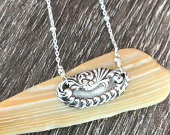 Fine Silver Sterling Silver Necklace / Fine Silver Pendant / 999 Silver Necklace / PMC Necklace