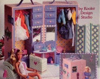 BARBIE DRESSING ROOM Book Fashion Doll Furniture Plastic Canvas Pattern 3093