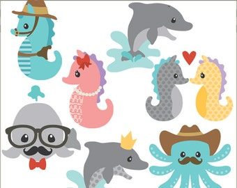 Ocean Clipart Set  -Personal and Limited Commercial Use- seahorse, octopus, dolphin, whale clip art