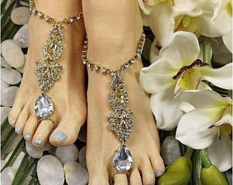 Barefoot sandals, GOLD, footless sandals, Bridal, Bridesmaid, foot jewelry, wedding shoes, ankle, feet jewelry, rhinestone, crystal, beach
