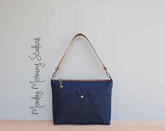 Waxed Canvas Handbag in Navy Blue, Nautical Canvas Shoulder Bag with Leather Strap, Casual Everyday Crossbody Purse, Handmade in the USA