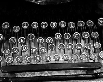 Black and White Archival Photograph Old Typewriter Vintage Antique Typewriter Keys Fine Art Photography