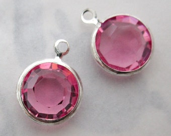 10 pcs. Vintage Swarovski rose pink crystal silver plated channel set rhinestone charms 10mm - f5421