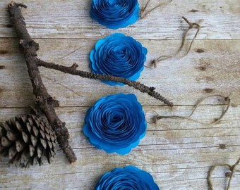 4 Paper flower Blue Ornaments