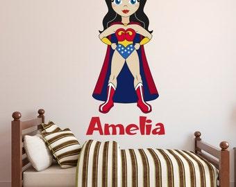 Wonder Woman Wall Decal - Custom Name Wall Decal - Wonder Girl Wall Art - Superhero Wall Sticker Kids Decor - Custom Vinyl Wall Decal