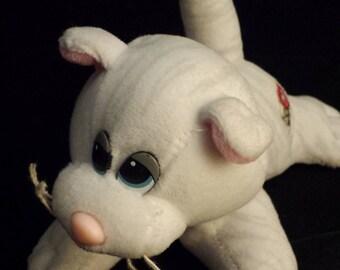 "Vintage 1980's Pound Pur-r-ries Puppies White Striped Cat 7"" Plush Toy"