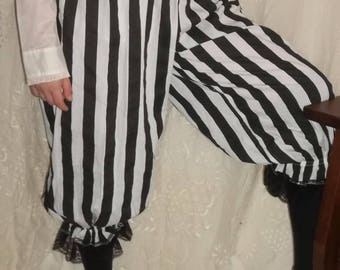black and white stripe pantaloons with black lace