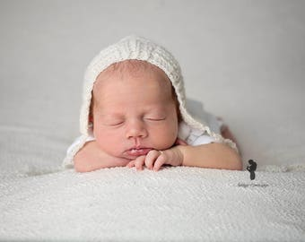 Lambswool Newborn Bonnet - Knit Bonnet - Newborn Bonnet - Neutral Bonnet - Photo Prop Angora Lambswool