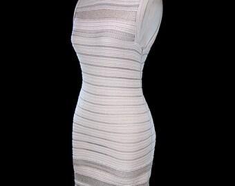 Azzedine Alaïa dress, beaded stretch knit dress, body con day or evening sleeveless, couture, Alaia, beige tan ivory gray silver