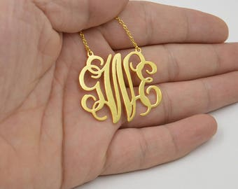 """Monogram necklace gold,1.25"""" Personalized monogram necklace,Sterling silver plated 18K gold,Christmas jewelry"""