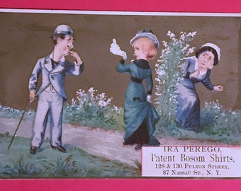 Victorian Trade Card 1800s, Naughty Husband Talking With Young Lady While Wife Is Looking, Ira Perego Bosom Shirts, Victorian Collectible