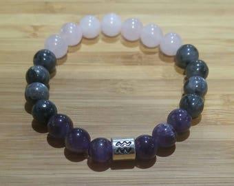 Aquarius Astral Gemstone Bracelet · Zodiac Bracelet · Birthday · Meditation · Crystal Healing