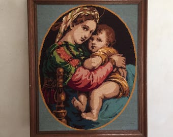 "Beautiful French vintage needlepoint ""Mother and child"" in a wooden frame"