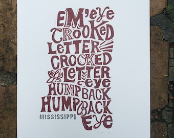 Mississippi State Crooked Letter Block Print -- hand lettering, linocut, charcoal, maroon, gray