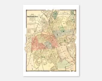 Providence Rhode Island Vintage Map Print