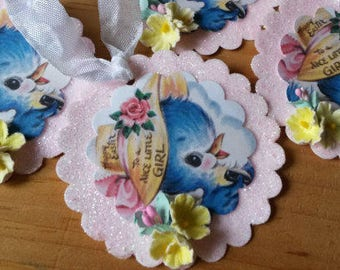 easter gift tags ornaments for little girl vintage blue bird easter package ties glittered tags pink easter home decor for spring ornaments