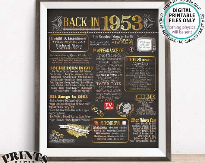 """1953 Flashback Poster, Flashback to 1953 USA History Back in 1953 Birthday 65th Birthday, Gold, Chalkboard Style PRINTABLE 16x20"""" Sign <ID>"""