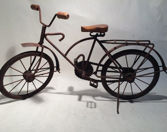 Miniature Tin Metal Women Bicycle Sculpture Metal Pipes & Painted Dark Brown Home Decor