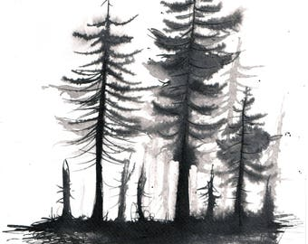 Forest painting 8x12in, A4 on PAPER -black and white fir painting 2