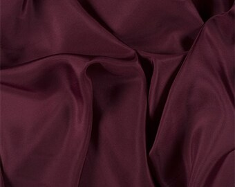 Burgundy Silk Habotai, Fabric By The Yard
