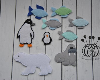 Felt board play set North Pole animals education game for children