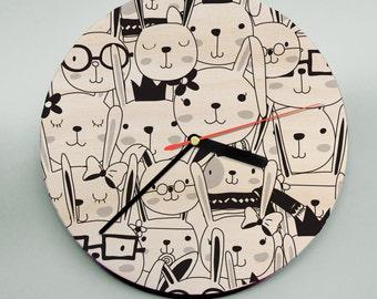 Modern Nursery Clock / Kids Clock / Illustrated Clock / Comic Clock / Childs Room Decor / Black line drawing Clock / Cute Clock
