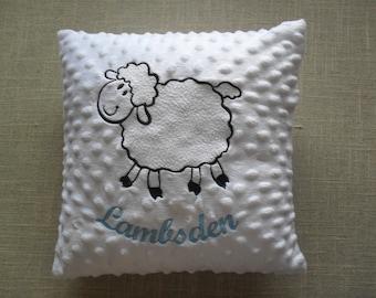 Lamb Personalised / Personalized Minky / Dimple / Popcorn soft fabric nursery cushion. Baby Cushion.