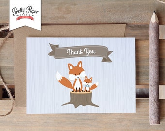 Woodland Thank You Card // INSTANT DOWNLOAD // Thank You Note // Fox Baby Boy // Blue Baby Shower // Birthday Party / Digital Printable BS01