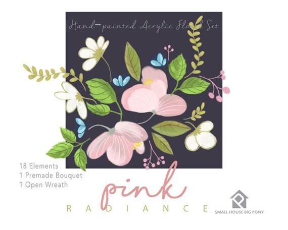Digital Clipart- Watercolor Flower Clipart, peonies Clip art, Floral Bouquet Clipart, wedding flowers clip art- Pink Radiance