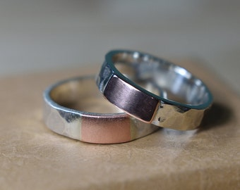Womens Hammered Wedding Copper Band. Womens Hammered Copper Wedding Ring. Hammered Silver and Copper Ring. Womens Copper Ring