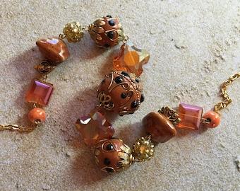 Renaissance Times -Statement  Necklace, Beadwork Necklace, Beaded Necklace, Gold Metal, Womens Jewelry