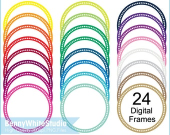 24 Colors Dots Circle Frames Clip Art, For Personal and Small Commercial Use. B-0052.