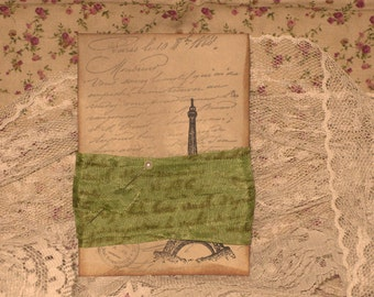 French Vintage Hand Stamped French Script Seam Binding French Verte ECS