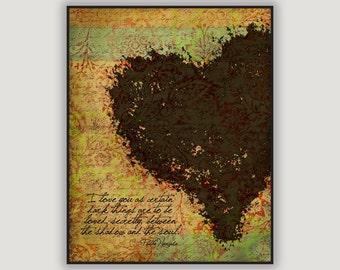 Pablo Neruda Quote, romantic Valentine, goth Valentine, romantic wall art, anniversary gift, heart art, love quote, macabre art, poetry art