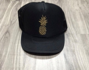 Pineapple Glitter Trucker Hat Beach River Hawaii Tropical Vacation Vacay Mode Women's