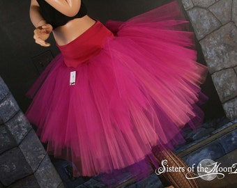 Adult tutu Three Layer Petticoat skirt Pixie fuchsia pink purple dance costume princess petticoat  - You Choose Size - Sisters of the Moon