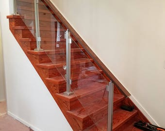 Modern Square Stairs Balcony Glass Hand Rail Staircase Railing Kit   Glass  NOT Included