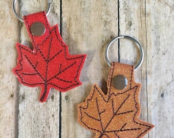 Maple Leaf Key Fob, Pick from Red or Copper Glitter, Autumn Leaf