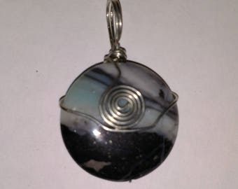 Black white and blue Amazonite Wire Wrapped Pendant