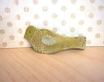 BIRD Hair BARRETTE French clip, Verbena green pastel gold, handmade polymer clay hair clip, Christmas gift for her, Bird lover gift for girl