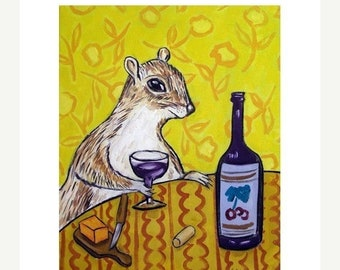25% off Grey Squirrel at the Wine Bar Art Print