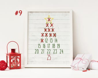 Christmas Tree - Advent Calendar Digital Print - Instant Download