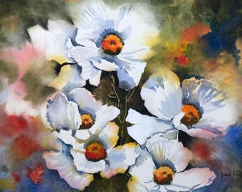 Daisies, flower paintings, peaceful watercolour, english watercolours, peaceful paintings, wet in wet paintings, white flowers, countryside.