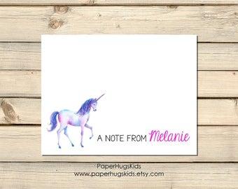 Unicorn stationery, Unicorn Note Cards, Kids Thank You Cards, Personalized Stationery, Kids Note Cards, Unicorn / Set of 10