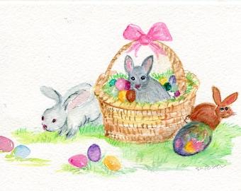 Bunnies Watercolor Painting Original, eggs artwork  5 x 7 watercolor rabbits  paintings