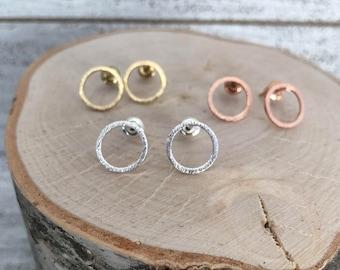 Brushed Circle Stud Earrings